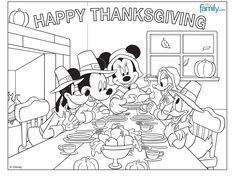 Mickey Mouse Thanksgiving Coloring Page