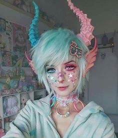 "Kawaii make-up Elfgutz inspiration pastel pink hair/ pastel blue hair"" blood skull hand Makeup Art, Eye Makeup, Hair Makeup, Makeup Ideas, Makeup Style, Demon Makeup, Makeup Drawing, Harajuku Fashion, Kawaii Fashion"
