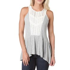 1c587affd4 Eyeshadow Juniors Ribbed Knit Crocheted Lace Top. C F · Von Maur