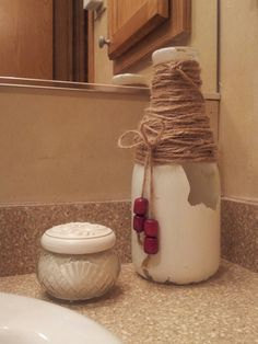 Old Milk Bottle Distress Painted with Hemp String and Wooden Beads - decor Old Milk Bottles, Distressed Painting, New Hobbies, Wooden Beads, Hemp, Future House, Home Decor, Interior Design, Home Interior Design