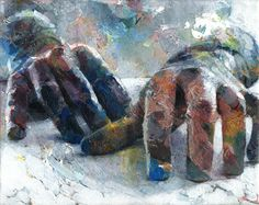 "Artist David Agenjo; Painting,   ""Hands-on XIII"""