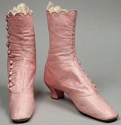 amarantines: Pink leather boots, circa 1860s