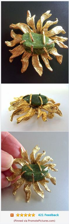 Jade Gold Flower BSK Brooch, Free Form, Vintage #brooch #gemstone #jade #green #sunflower #vintage #bsk #gold https://www.etsy.com/renaissancefair/listing/569408195/jade-gold-flower-bsk-brooch-free-form?ref=listings_manager_grid  (Pinned using https://PromotePictures.com)