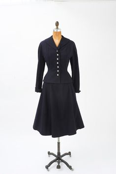 1940s Dark Blue Wool Suit with Rhinestone Buttons