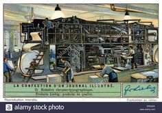 Download this stock image: Colour rotary printing press for a French illustrated…