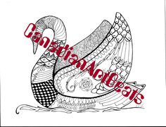 Downloadable Swan Zentangle inspired Coloring Page by CanadianArtBeats on Etsy