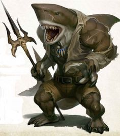 WereShark pirate coastal sea island docks Meet the most diverse and fucked up pirate crew in all of d&d Fantasy Warrior, Fantasy Races, Fantasy Rpg, Fantasy Artwork, Fantasy Character Design, Character Inspiration, Character Art, Monster Design, Monster Art