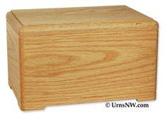 Urns Northwest  - Hamilton Cremation Urn, $139.00 (http://urnsnw.com/hamilton-cremation-urn/) Affordable solid oak wood urn, made in the USA.