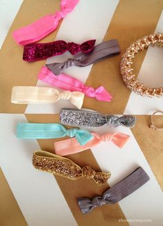 pElastic ties are so trendy now, but can be very expensive. These hair ties are not only super cute, but they help prevent creases in your hair. Rachel, from Shore Society shows us how to make 45 hair ties for $11. Go check out her site for the complete how /p