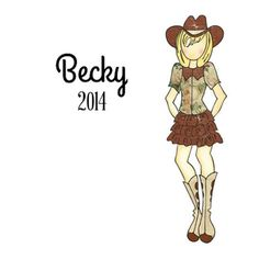 This cowgirl stamp, Becky, is ready to kick up her heels and go dancing! Find her at CrazyCraftyCreators on Etsy.