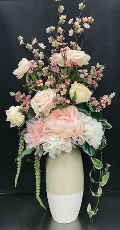 Blush Pink Tall Arrangement by AndreaYou can find Silk flower arrangements and more on our website.Blush Pink Tall Arrangement by Andrea Silk Floral Arrangements, Spring Flower Arrangements, Beautiful Flower Arrangements, Flower Centerpieces, Beautiful Flowers, Wedding Centerpieces, Deco Floral, Arte Floral, Floral Design