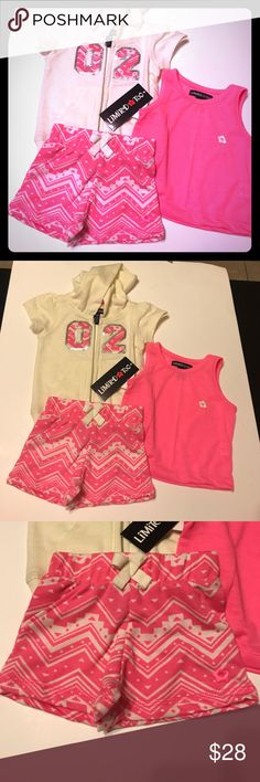 Limited Too Girls set New with tags, short sleeve jacket tank top and shorts Matching Sets