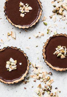 gluten free & vegan coconut + chocolate pistachio tart
