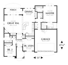 Main Floor Plan of Mascord Plan 1146A - The Reagan - Traditional Great Room Plan with Grand Entry