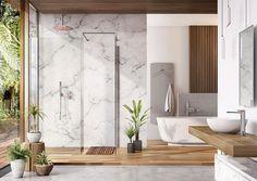 Bagno elegante in marmo e legno con rubinetto in acciaio cromato stampa 3D.