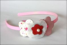 Pink headband with leather flowers
