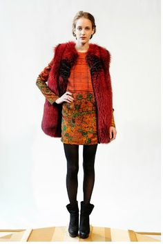 dyed red fox fur vest