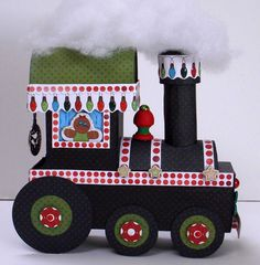 Bo Bunny: Chugga Chugga Choo Choo with Tutorial and template Christmas Paper Crafts, 3d Paper Crafts, Diy Crafts, Advent Calenders, Clay Ornaments, Fancy Fold Cards, All Things Christmas, Paper Piecing, Crafty