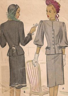 1940s suit pattern, McCall 6685