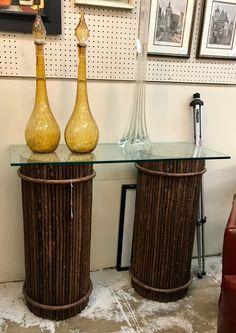 "Twig Style Pedestals   14"" Diameter x 34"" High   $750 Pair   Booth #282  Lula B's  1010 N. Riverfront Blvd. Dallas, TX 75207"