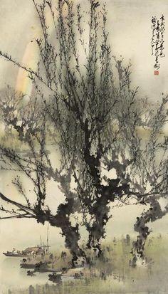 laclefdescoeurs:  Rainbow over the Lake, 1952, Zhao Shao'ang