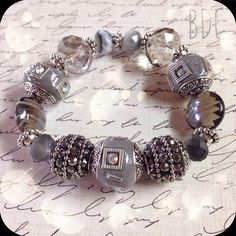Silver & Grey Chunky Bead Bracelet on Etsy, $12.00