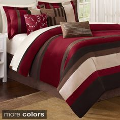 Madison Park Boulder Stripe Queen Size Bed Comforter Set Bed in A Bag - Burgundy, Brown, Stripe – 7 Pieces Bedding Sets – Micro Suede Bedroom Comforters Bed Sets, King Comforter Sets, Bedding Sets, Red Comforter, Queen Bedding, Floral Comforter, Console, Lit Simple, Striped Bedding
