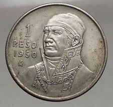 1950 Mexican Independence HERO Jose Maria Morelos SILVER Peso Coin Mexico i56753