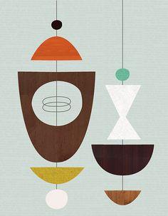 Glass inspiration Giclee Print item No. Atomic mobiles by JennSki on Etsy Mid Century Modern Decor, Mid Century Art, Mid Century Style, Mid Century Design, Midcentury Modern, Retro Design, Flat Design, Mobiles, Quilt Modernen