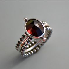 Kira Ferrer Stacking Garnet Sterling Silver Rings Set of Three