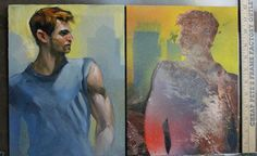 Kenney Mencher: David, (diptych) two oil paint on masonite panels ...