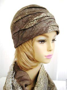 Купить Змейка хаки шапка валяная оригинальная - хаки, шапка со складками…