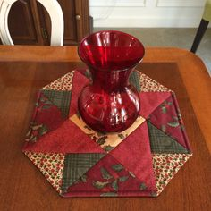 Christmas Red Green & Beige Pieced and Quilted Table by seaquilt