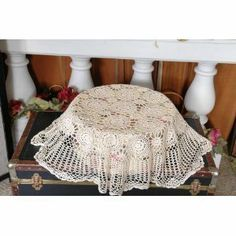 """100% Cotton Handmade Crochet Table Dollies White 24"""" Round by OctoRose. $8.99. Please find the matching crochet items different size in below ASIN number on Amzon.. easy machine washing cold.. 100% cotton handmade crochet dollies 24"""" round. we have this design in placemat, dollies, table runner, and table cloth square, round and oblong in white and beige. High Quality Gurarantee.. Please find Matching Crochet table cloth, table runner, placemats, dollies and cushion case in..."""
