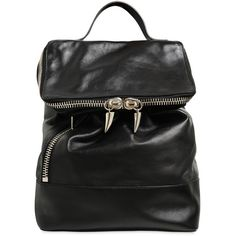 GIUSEPPE ZANOTTI Nappa Leather Backpack - Black (29.220 UYU) ❤ liked on Polyvore featuring bags, backpacks, black, day pack backpack, giuseppe zanotti, giuseppe zanotti bags, rucksack bags and zipper bag