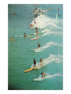 Surfing with Longboards Premium Poster