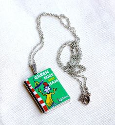 Dr Seuss Green Eggs and Ham Book Necklace -  Book Locket