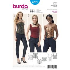Three great bustier tops, each with numerous panel seams to sculpt it to your body and reinforced with boning.