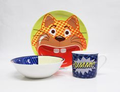 Children high-quality porcelain tableware from MultipleChoice by topchoise for SillyDesign Poland, pop cat, funny gift, colorful porcelain, dinner set for children, price 26€