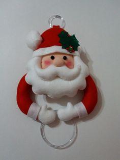 Porta pano de prato Papai Noel com pano de prato decorado. Preço unitário.