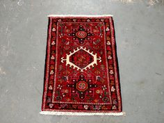 Persian Rug - 1980s Hand-Knotted Karaja Persian Rug (3415) by JahannAndSons on Etsy