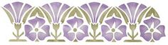 """Mission Pansy and Morning Glory Stencil. 2 Overlays 5"""" Tall x 20"""" $24"""