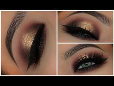 Gold & Black Halo Smokey Eyes   Amys Makeup Box - YouTube