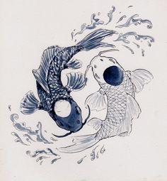 blue and white, drawing, eyes, fish, water, yin and yang, yin&yang                                                                                                                                                                                 Mais