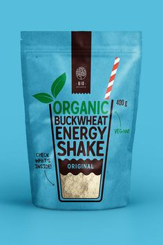 We are happy to represent our new packaging for a new product line of Organic Buckwheat energy shake drinks. Total of 5 different tastes with a 5 packaging bright shades! Sugar Packaging, Yogurt Packaging, Organic Packaging, Pouch Packaging, Cool Packaging, Food Packaging Design, Brand Packaging, Bio Food, Food Branding