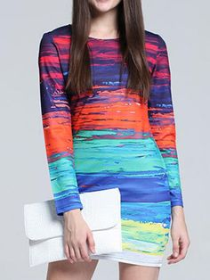 Women Casual Mix Color Long Sleeve O-neck Mini Dress - Gchoic.com #Dresses #Women #Fashion #Latest