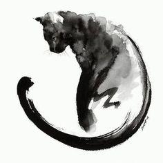 #Repost @gothsunite ・・・ The black cat with water colours by Mariusz Szmerdt   #cat #cats #painting #blackcat