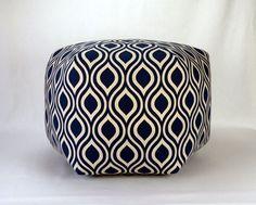 "24""  Wide By 15"" Tall Floor Ottoman Pouf Pillow Navy Indigo Blue Natural Laken-  Nicole Contemporary Modern Print"