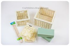 dowels, paper shreds, floral foam and baskets