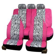 FH Group Pink and White Zebra Airbag-safe Seat Covers (Full Set) (Pink/White Zeb. Maserati, Lamborghini, Ferrari, Girly Car Seat Covers, Seat Covers For Girls, Audi, Bmw, Aston Martin, Up Auto